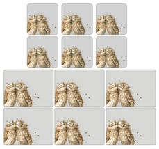 SET OF 6 BABY OWL CORK BACKED HEAT RESISTANT PLACEMATS & COASTERS - $46.84