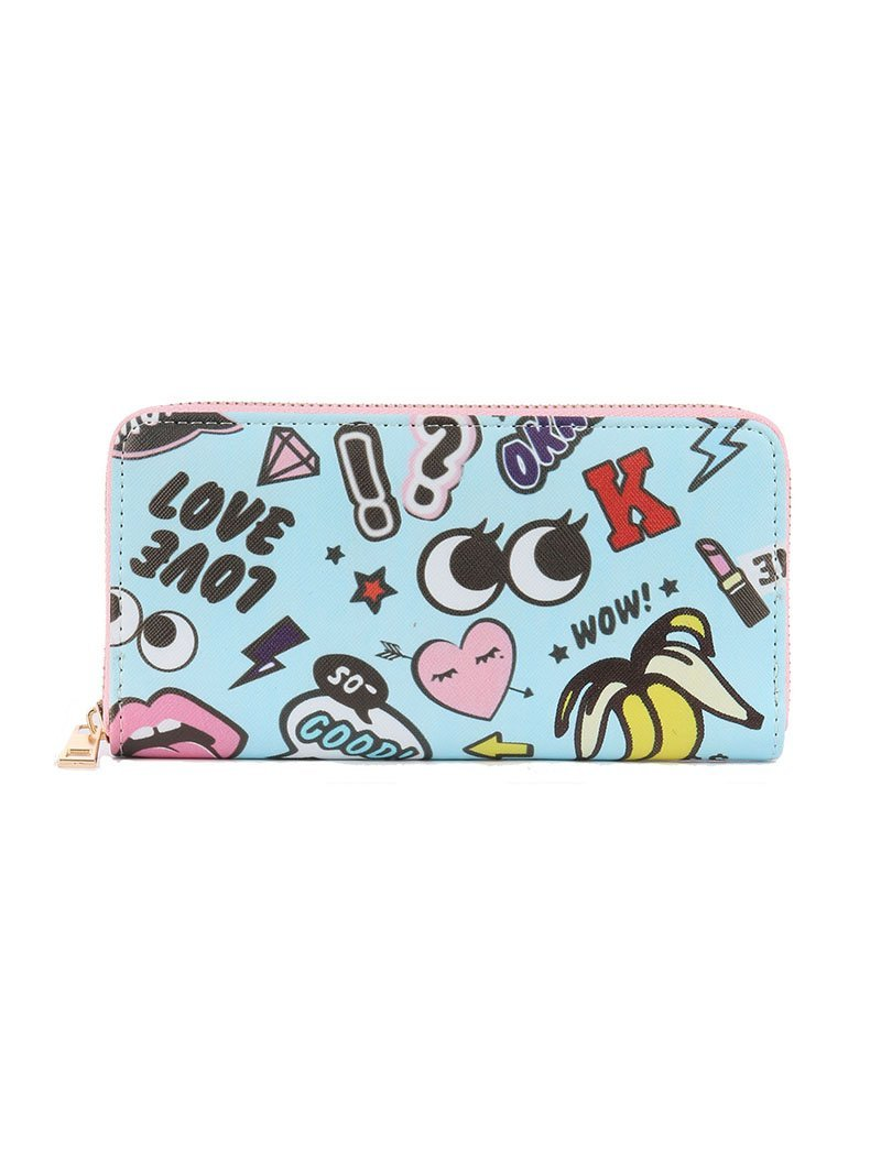 Pop Culture Print Zip Around Wallet Clutch Purse