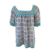 Nicole Miller Womens Blue White Pink Print Square Neck Short Sleeve Top ... - $11.88