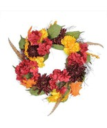"""24"""" Autumn Harvest Peony, Mum & Feather Artificial Thanksgiving Floral W... - $54.99"""