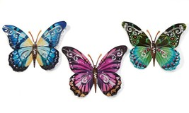 """Set of 3 - 17.5"""" Wide Metal Butterfly Wall Decor Plaques Home Garden Nature"""