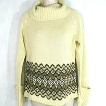 Ann Taylor Loft Turtleneck Knit Fair Isle Sweater Women Size M Tan Cream... - $16.82