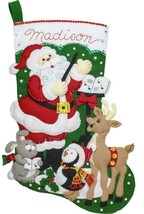 Bucilla Santas Choir Practice Deer Penguin Christmas Felt Stocking Kit 8... - $39.95