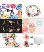[50] 4x6 Floral Thank You Cards, w/Envelopes and Stickers, for Weddings,... - $15.20