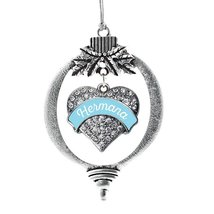 Inspired Silver Light Blue Hermana Pave Heart Holiday Ornament - $14.69