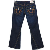 True Religion Rainbow Joey Womens Flare Jeans Size 28 X 29 Dark Flap Poc... - $133.60