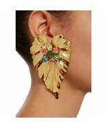 Vintage Style Big Leaf Pattern Fashion Rhinestone Women Earrings Push Ba... - $5.98
