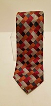 Sexy Geoffrey Beene 100% Silk Red Blue Silver Patchwork Diamonds Tie Necktie image 2