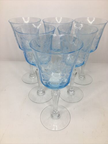 Primary image for 6 Fostoria GRAND MAJESTY Crystal Blue Etched Goblet Wine Glass 1979-80 HTF RARE