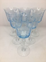 6 Fostoria GRAND MAJESTY Crystal Blue Etched Goblet Wine Glass 1979-80 H... - $494.77