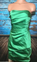 David's Bridal Green Strapless Dress Satin Size 2 New NWT Short F14212 - $53.45
