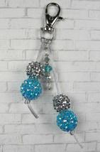 Rhinestone Ball Crystal Aqua Silver Satin Cord Keychain Purse Charm Hand... - $14.83