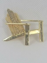 Signed Liz Claiborne (LC) Gold Tone Outdoors Chair W/ Rhinestone Accent Brooch - $13.80