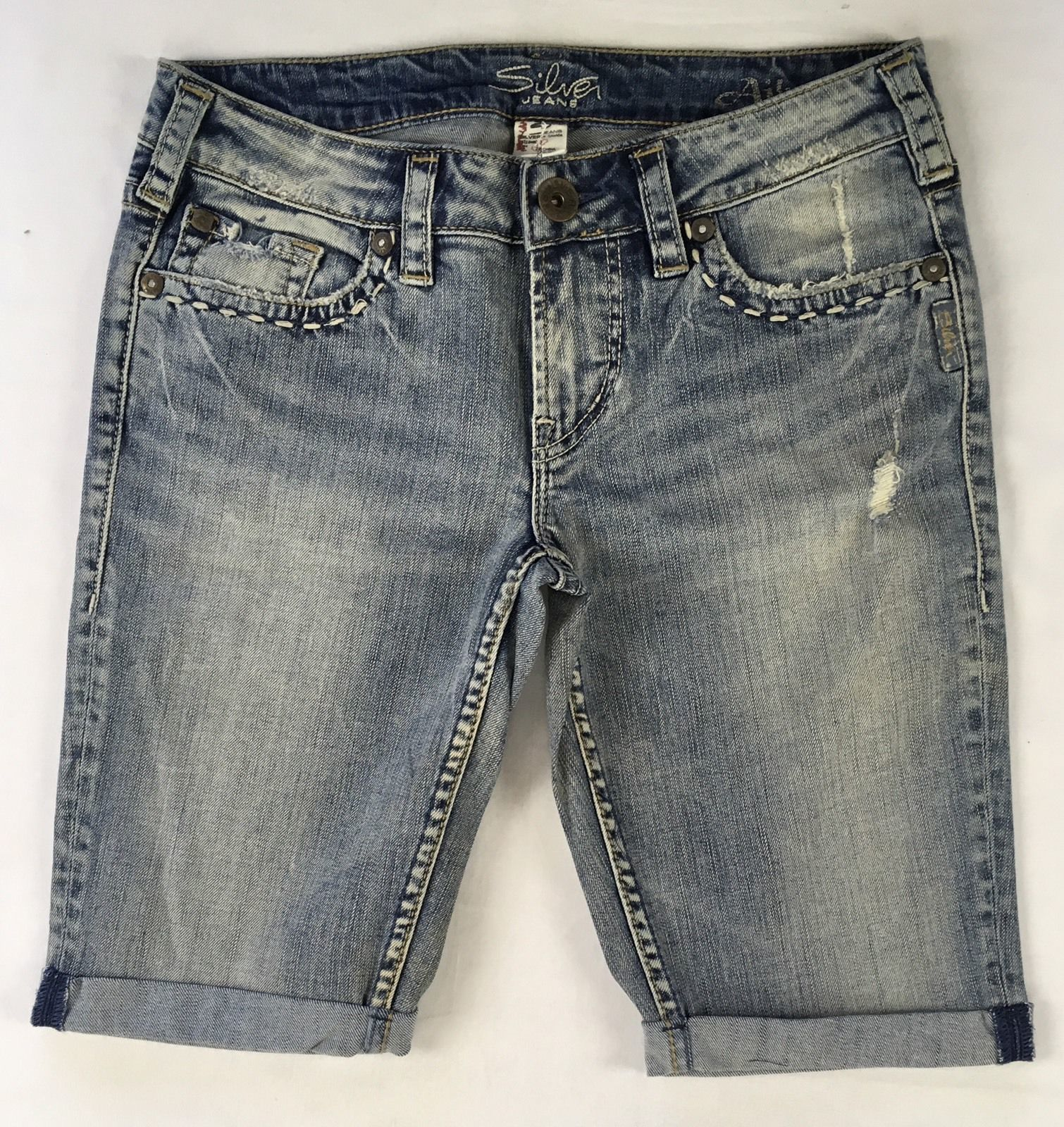 New SILVER Jeans Sale Cheap Buckle Mid Rise Aiko Denim Jean Stretch Shorts 28