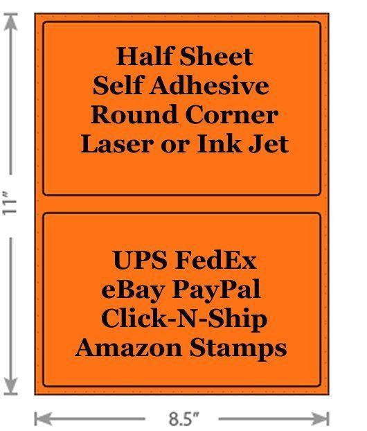 Fluorescent Orange Shipping Labels 8.5x5.5 Half Sheet Self Adhesive eBay PayPal