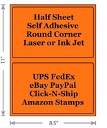 Fluorescent Orange Shipping Labels 8.5x5.5 Half Sheet Self Adhesive eBay... - $1.99+