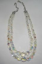 Vintage Aurora Borealis Crystal Bead 2 Strand Necklace C1369 - $18.30