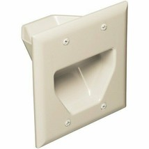 Datacomm Electronics 45-0002-LA 2-Gang Recessed Cable Plate (Light Almond) - $15.92