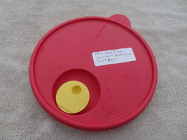 Tupperware 2649 Lid Only Red Yellow Button 7 1/2 Wide Great Shape - $10.99