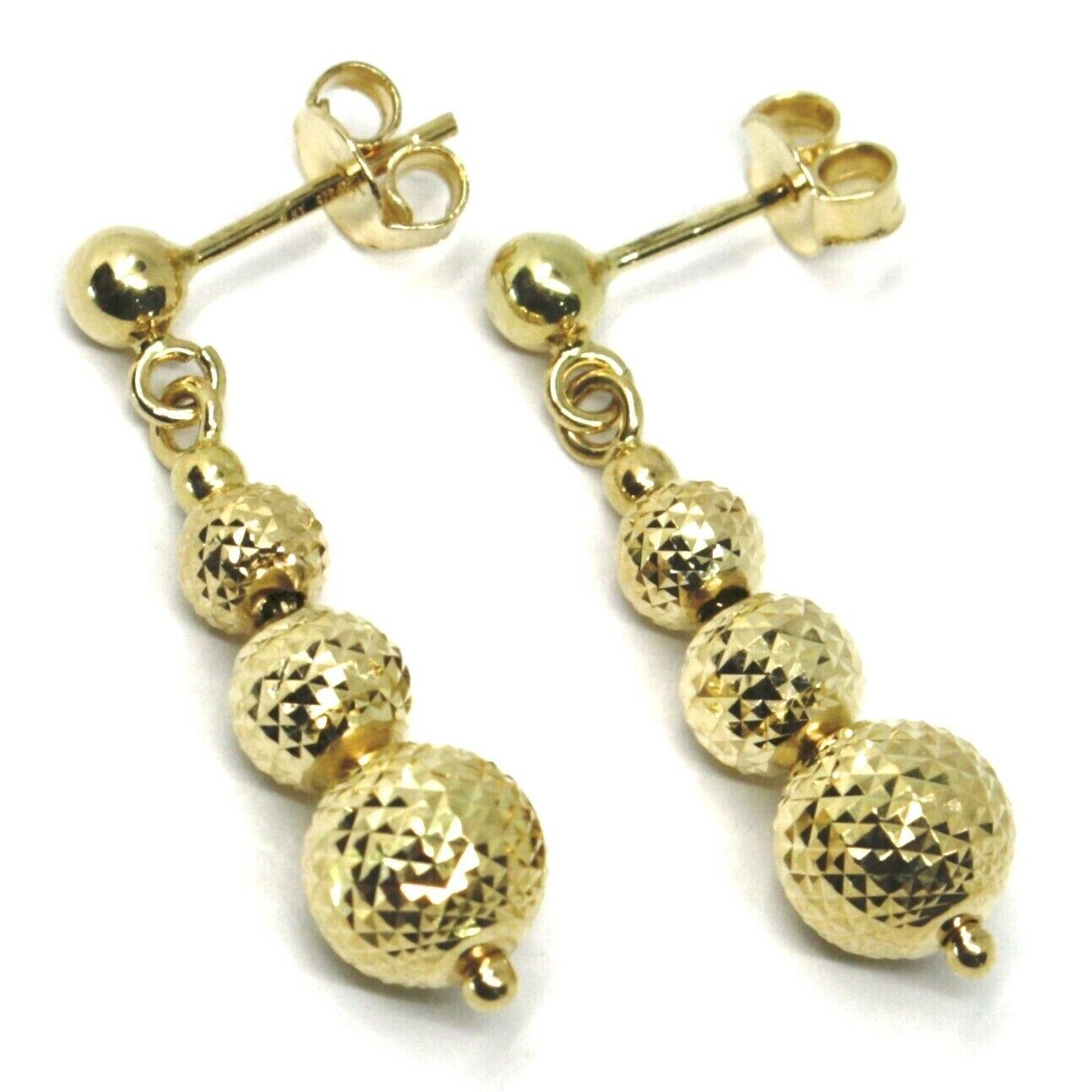 18K YELLOW GOLD PENDANT EARRINGS WORKED SPHERES 5-6-8 MM DIAMOND CUT, FACETED
