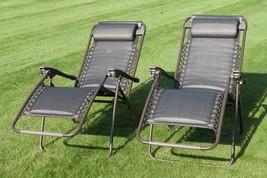 2 Garden Reclining Chairs Zero Gravity Sun Folding Patio Rocker Set Sunl... - $187.62