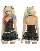 Harley Quinn Arkham Knight Quilted Studs Corset Hot Topic Cosplay Dress ... - $37.39