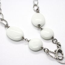 SILVER 925 NECKLACE, AGATE WHITE, SQUARE PENDANT, CHAIN OVALS WORKED image 4