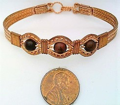 Red Tiger Eye Copper Wire Wrap Bracelet sz7.5 - $31.94