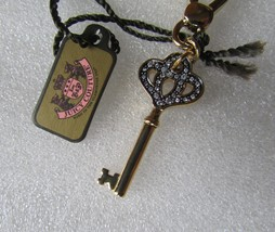 Juicy Couture Charm Pave Heart Crown Key Goldtone NEW - $77.22