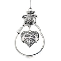 Inspired Silver Silver Flower Girl Pave Heart Snowman Holiday Decoration Christm - $14.69