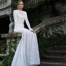 New White Lace Sexy Long Sleeve Backless O-Neck Mermaid Wedding Gown Plus sizes image 1