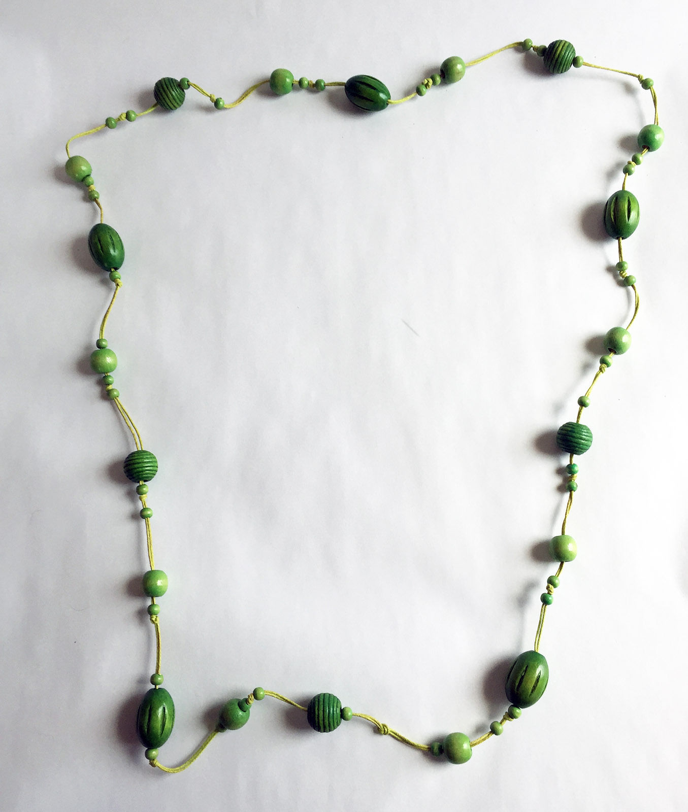 """Wood Bead and Cord Necklace Long 54"""" image 3"""