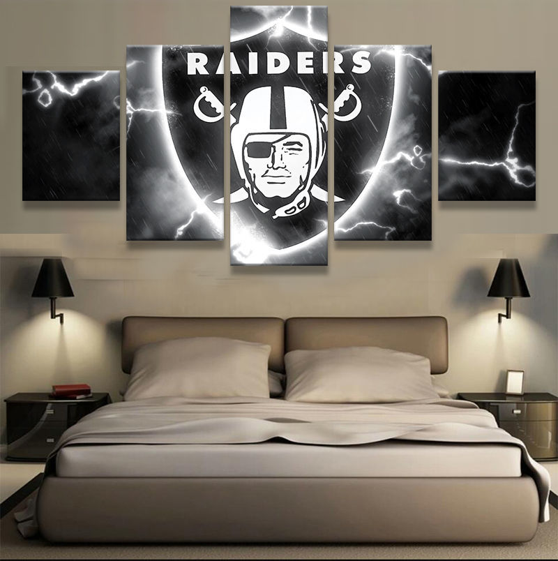 5 Panel Dallas Cowboys Canvas Prints Painting Wall Art Nfl: Oakland Raiders Flash Poster 5 Piece Canvas Art Wall Art
