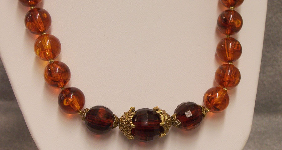 Amber Beaded Necklace with Vintage Bracelet Lucite? Solid Band