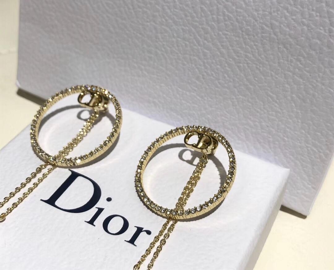 AUTH Christian Dior 2019 CD LOGO LARGE CIRCLE HOOP DANGLE PEARL DROP Earrings