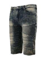 Men's Distressed Denim Faded Wash Slim Fit Moto Quilt Skinny Jean Shorts image 13