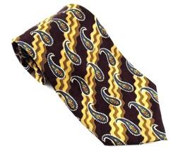 Alexander Lloyd Burgundy Tan Paisley Design Silk Neck Tie Made in USA - $4.94