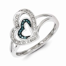STERLING SILVER .08CT BLUE AND WHITE DIAMOND DOUBLE  HEART RING - SIZE 7 - $102.37