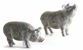 Set of 2 Washed Brown Standing Pig Figurines w White leaves Detailing Polystone