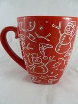 Starbucks Barista Red Snowman Christmas Coffee Mug  Large 16 oz 2001 - $26.72