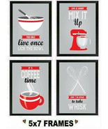 5x7 Red Retro Pictures Kitchen Whisk Blender Bowl Sayings Wall Hangings - $8.99+