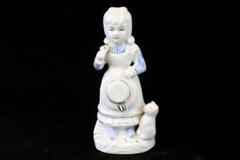 Vintage Porcelain Girl With Cat Figurine Blue & White Gold Guild - $4.56