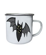 Halloween Scary Bat Retro,Tin, Enamel 10oz Mug q728e - $17.42 CAD