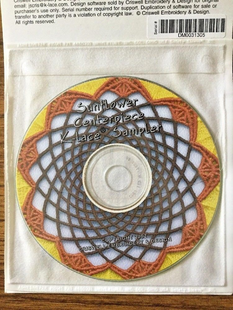 NEW - Criswell Embroidery & Design Sampler CD -Sunflower Centerpiece K-Lace/ NIB