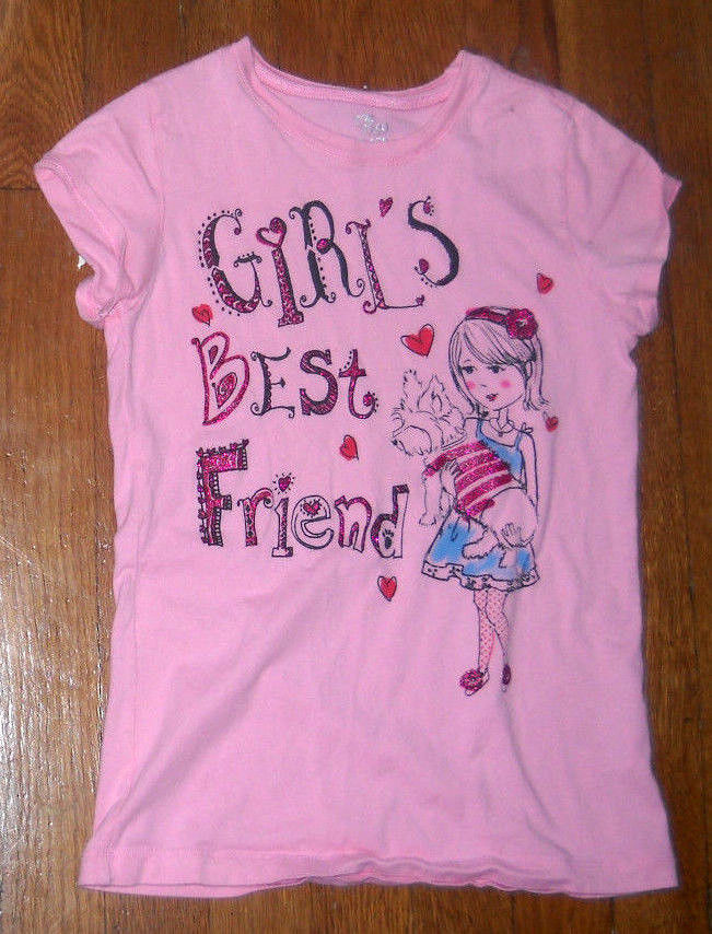 the childrens place pink puppy dog glitter graphic tee shirt medium 7 - 8 - $5.15