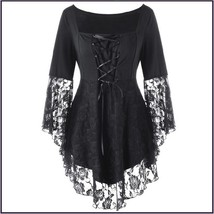 Black Plus Size Gothic Lace Up Front Flare Sleeves Irregular Extended Lace Hem image 2