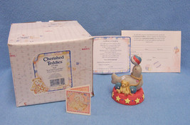 New in Box Cherished Teddies Enesco Circus Seal Friendship 1995 Gray Red - $7.91