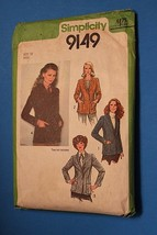 Vintage Sewing Pattern Simplicity # 9149 Size 12 Jacket Blazer Long Slee... - $11.63