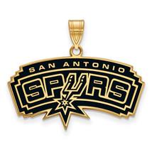 Sterling Silver w/GP NBA LogoArt San Antonio Spurs Large Enamel Pendant - $95.00