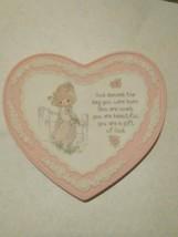 Precious Moments heart shaped bisque porcelain plaque Enesco 1994 - $9.90